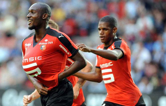 Sio celebra un gol con el Rennes. Foto: F. Tanneau / AFP