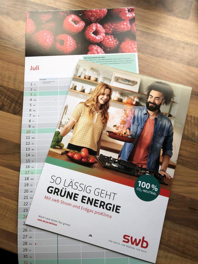 Der beliebte swb-Wandkalender für 2022 ist ab Montag, 27. September in den Kundencentern erhältlich – kostenlos.
