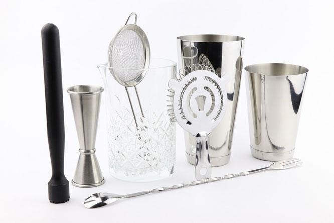 cocktail shaker kit, kit de cocteleria, boston shaker set, cocktail shaker set, equipo de cocteleria, herramientas de cocteleria, herramientas bartender