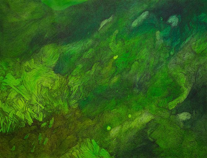 o.T. (grün°3), Tusche/Papier, 95 x 125 cm, 2019