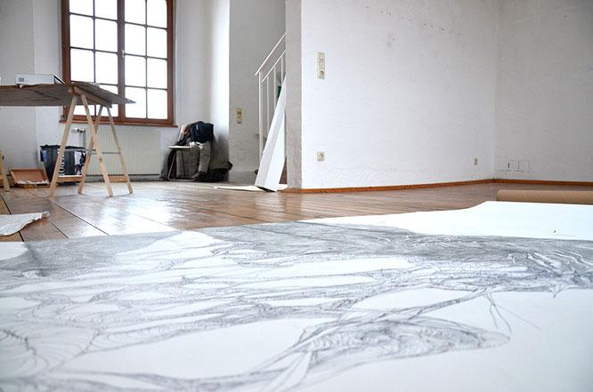Temporäres Atelier in der Galerie Schloss Puchheim, Februar 2019