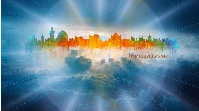 Jean voit la ville sainte la nouvelle Jérusalem préparée comme une mariée qui descend du ciel d'auprès de Dieu. Elle rayonne de la gloire de Dieu. Son éclat ressemble à celui d'une pierre très précieuse, d'une pierre de jaspe transparente comme du cristal