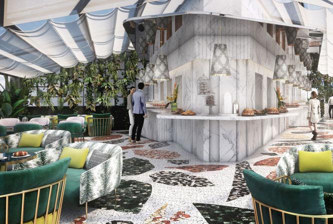 Dachterrassen-Lounge und Restaurant Settimo ©Studio Jean-Philippe Nuel