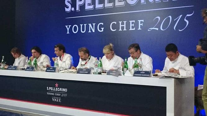 Die Jury: Grant Achatz, Gastón Acurio, Yannick Alléno, Massimo Bottura, Margot Janse,Joan Roca und Yoshihiro Narisawa ©TheCulinarian PS