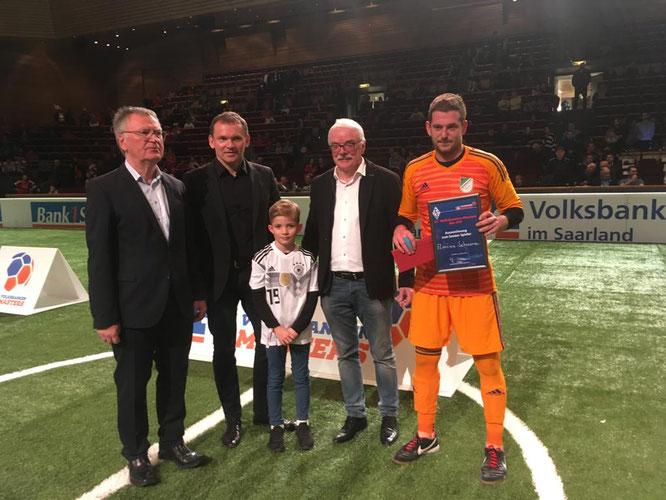 SVA-Torhüter Florian Schworm wurde vom Saarländischen Fußballverband zum besten Spieler des Turniers gewählt.