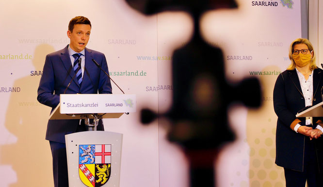 Ministerpräsident Tobias Hans und Wirtschaftsministerin Anke Rehlinger.