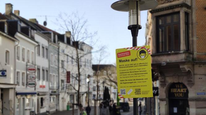 In Teilen von Saarbrücken gilt die Maskenpflicht.