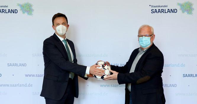 An diesem Donnerstag war  SFV-Präsident Heribert Ohlmann zu Gast bei Ministerpräsident Tobias Hans.