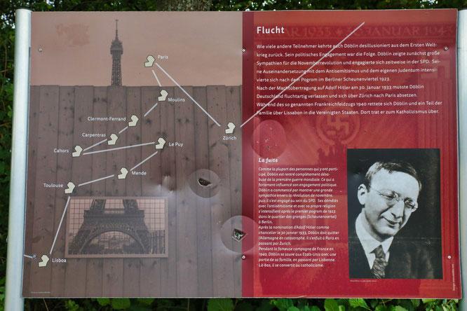 Die Beschilderung des Alfred-Döblin-Weges kostete insgesamt mehr als 5000 Euro. Jetzt wurden zum zweiten Mal Teile davon zerstört.