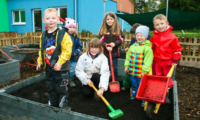 Kinder aus dem Kindergarten in Rilchingen-Hanweiler im Jahr 2016.
