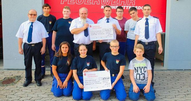 Der Löschbezirk Kleinblittersdorf spendete 2786,40 Euro für die Unwetter-Opfer.