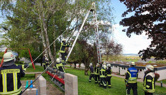 18 Feuerwehrleute des Löschbezirkes Mitte rückten aus, um die kleine Eule zu retten.