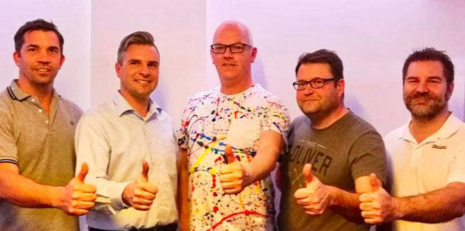 von links: Holger Fuchs, Alexander Heinz ( FDP-Kreisvorsitzender), Elmar Freude, Adi Eich, Carsten Burger.