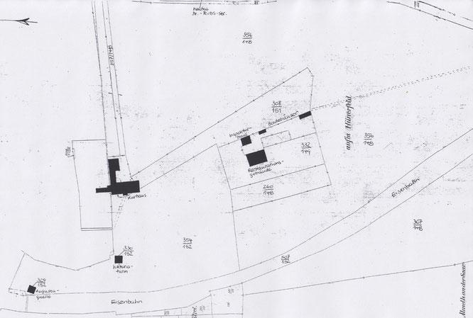 Die Karte zeigt die Baulichkeiten, die damals gekauft wurden