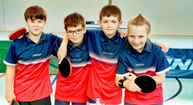 Die U13-Schüler des TuS Bliesransbach. von links: Raphael Nußbaum, Salvatore Lunetta, Julian Klein, Falko Schwartz