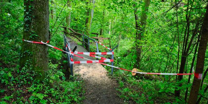 Die Brücke in der Teufelskanzel zwischen Kleinblittersdorf und Auersmacher musste gesperrt werden.