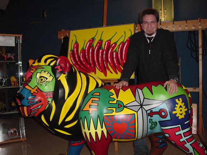 Mit seinem Löwen aus dem Jahr 1999 kam Michael Becker unter die zehn schönsten von knapp 200 Löwen der Stadt Saarbrücken.
