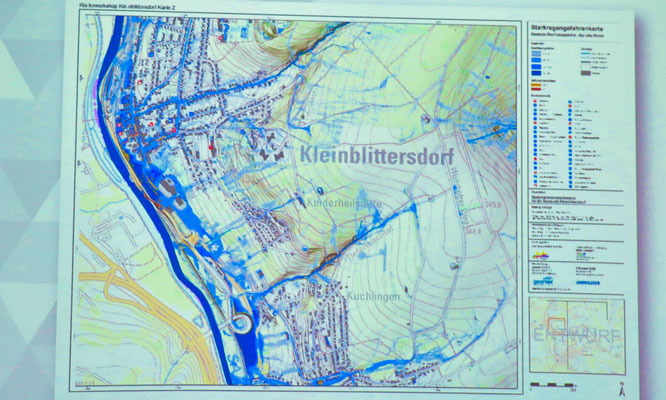 Eine Starkregen-Gefahrenkarte für Kleinblittersdorf. Die Gemeinde wird alle Karten noch detailliert veröffentlichen.
