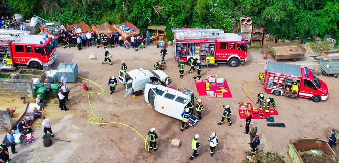 Die Feuerwehren in der Gemeinde Kleinblittersdorf bei der Jahreshauptübung im Jahr 2019. In diesem Jahr musste die Jahreshauptübung ausfallen.