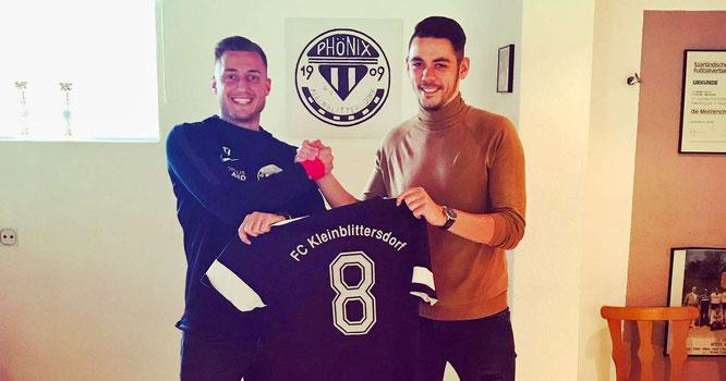 Phönix-Spielertrainer Pierluigi Vella (links) mit dem kommenden Spielertrainer Matthias Lillig.