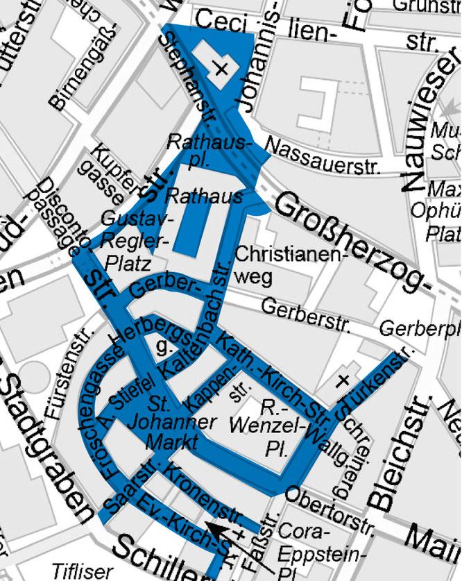 Hier gilt in der Saarbrücker Innenstadt Alkoholverbot.