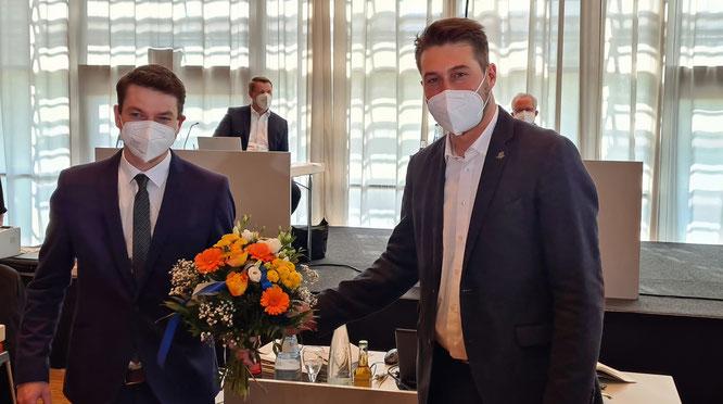 OB Conradt (r.) mit dem gewählten Baudezernenten Patrick Berberich - Landeshauptstadt Saarbrücken