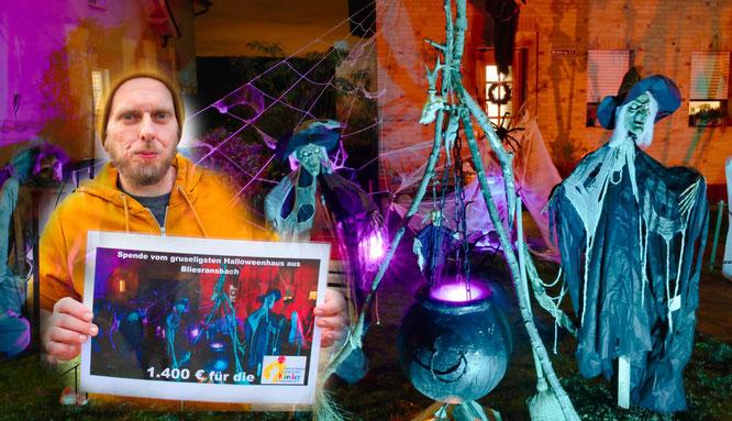 Michael Trompeter und sein Halloween-Haus in Bliesransbach haben 1400 Euro für krebskranke Kinder eingenommen.