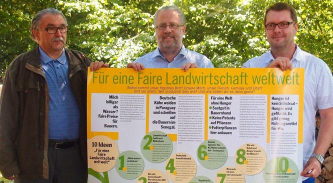 Karl Rudi Reiter (NABU), Roland Röder (Aktion 3.Welt Saar e.V.), Mark Baumeister (NGG).
