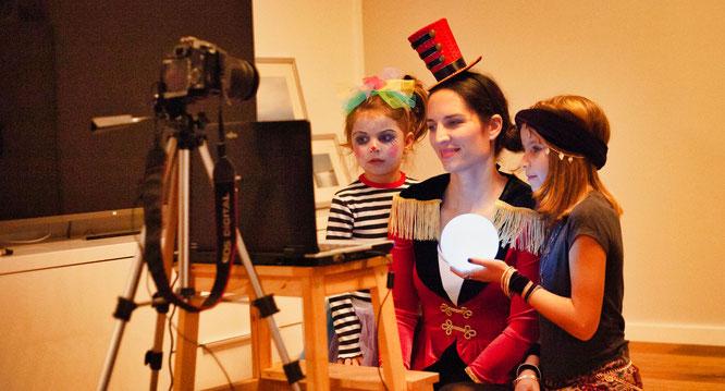 Die Siegerinnen der Kostümprämierung. Luisa, Nina und Clara Carroccia.