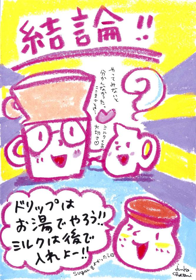 茶谷順子 コーヒーイラスト 牛乳ドリップ