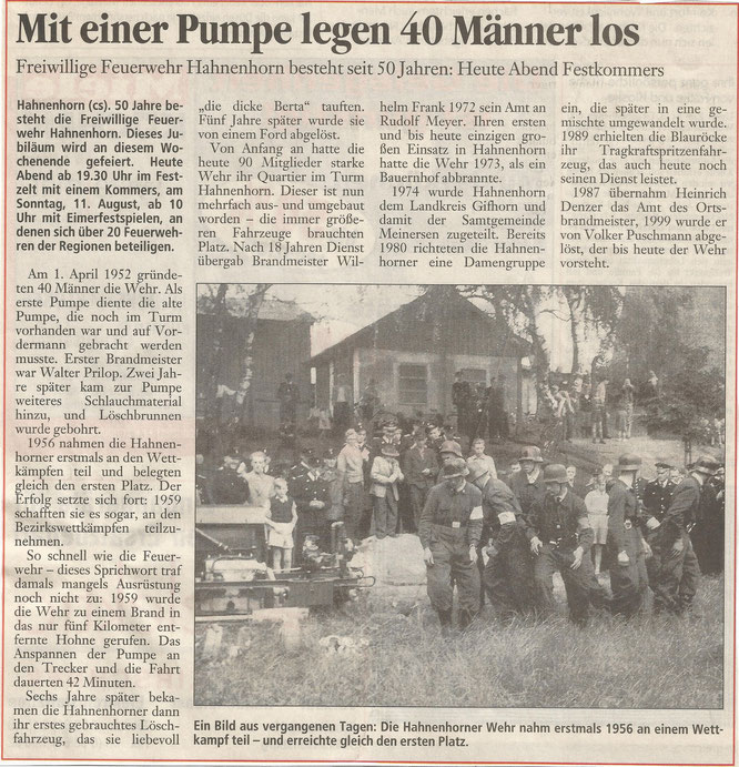 Die Geschichte unserer Wehr. Jubiläum von 2002.