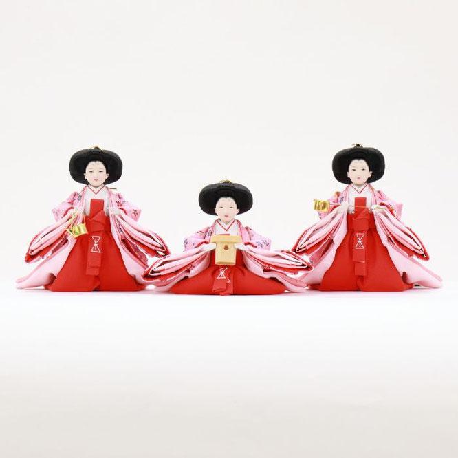 ひな人形 五人収納箱飾り 4H16-GP-023 三人官女(正面)