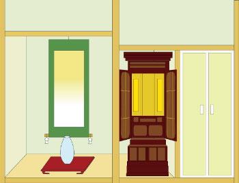 唐木仏壇の半間仏間設置