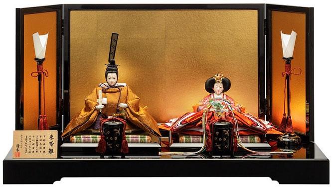 優香作ひな人形「親王飾り」黄櫨染御袍 京十二
