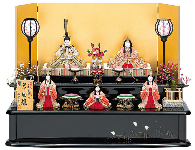 真多呂人形「花園雛5人飾り」品番:1368