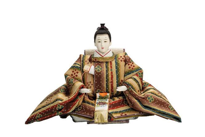 優香作「親王飾り」花文暈繝錦 男雛(京十一)