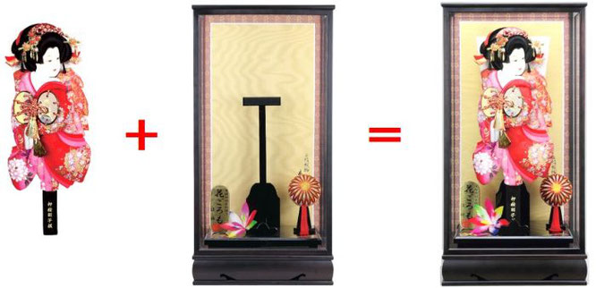 羽子板とケースの組み合わせイメージ
