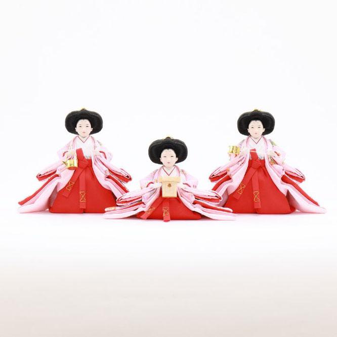 ひな人形 五人収納箱飾り 4H16-GP-017C 三人官女(正面)