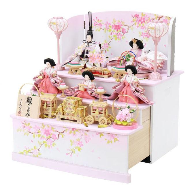 ひな人形 五人収納箱飾り 4H16-GP-025 五人収納箱飾り一式(横)