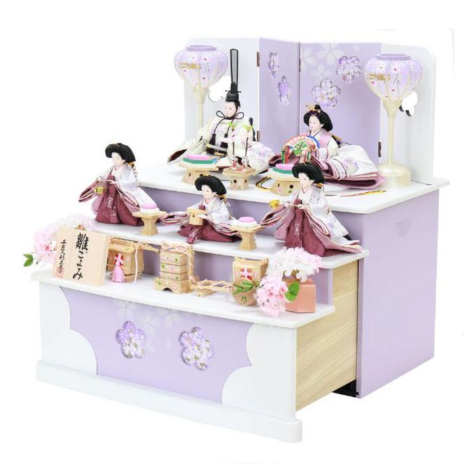 ひな人形 五人収納箱飾り 4H16-GP-027 五人収納箱飾り一式(横)