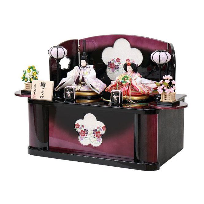 ひな人形 親王収納箱飾り 4H12-GP-072A 親王収納箱飾り一式(横)