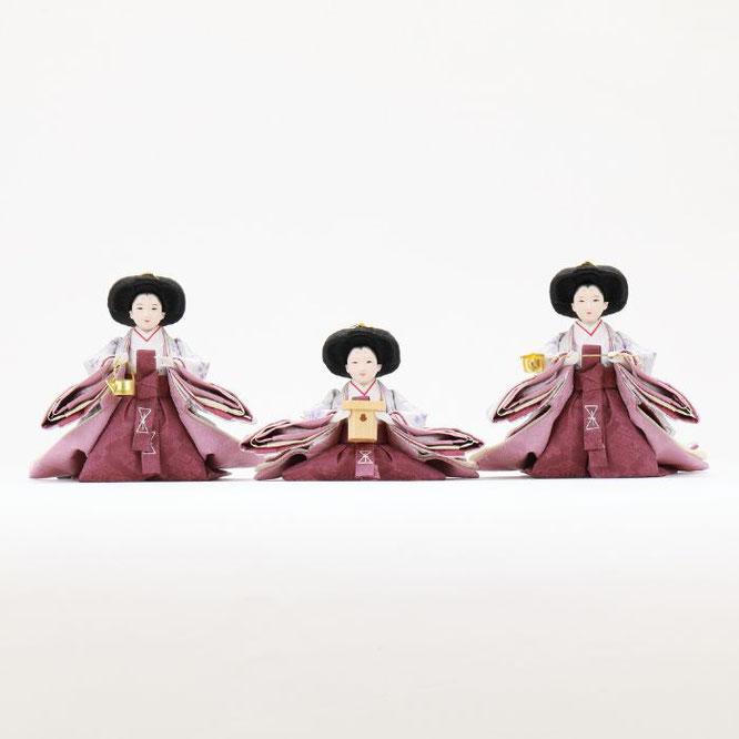 ひな人形 五人収納箱飾り 4H16-GP-027 三人官女(正面)