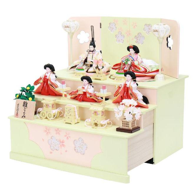 ひな人形 五人収納箱飾り 4H16-GP-019 五人収納箱飾り一式(横)