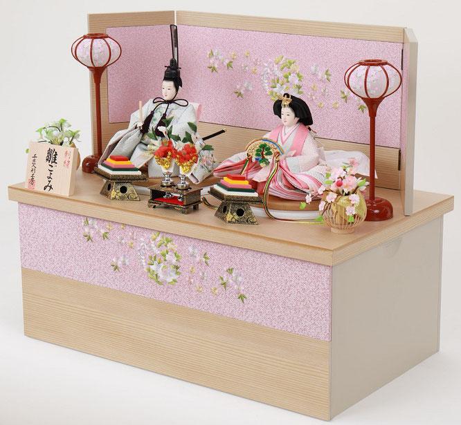 ひな人形 親王収納箱飾り 4H12-GP-070G 親王収納箱飾り一式(横)