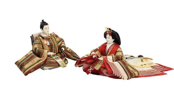 優香作ひな人形 親王揃い 花文暈繝錦(龍村美術織物)