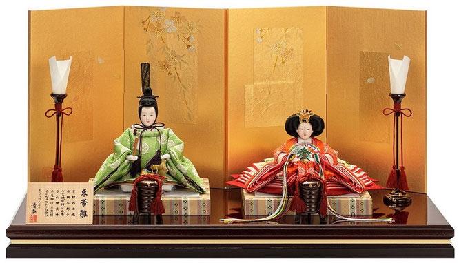 優香作ひな人形「親王飾り」亀甲地又木紋 京十三