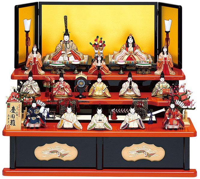 真多呂人形「慶園雛15人飾り」品番:1352