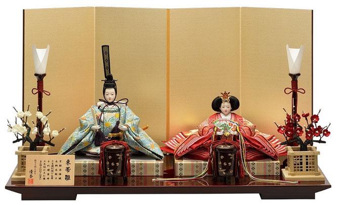 優香作ひな人形「親王飾り」七宝花菱 京十二