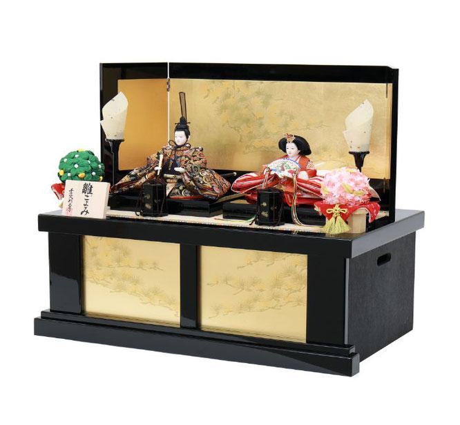 ひな人形 親王収納箱飾り 4H12-GP-066A 親王収納箱飾り一式(横)