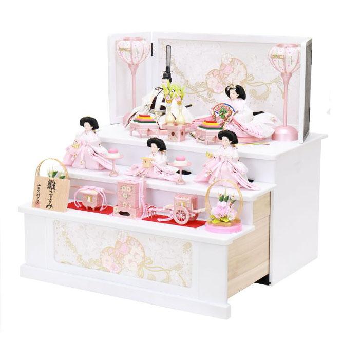 ひな人形 五人収納箱飾り 4H16-GP-022 五人収納箱飾り一式(横)
